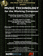 SCL in NY - MUSIC TECHNOLOGY for THE WORKING COMPOSER - April 7th at 7:30pm