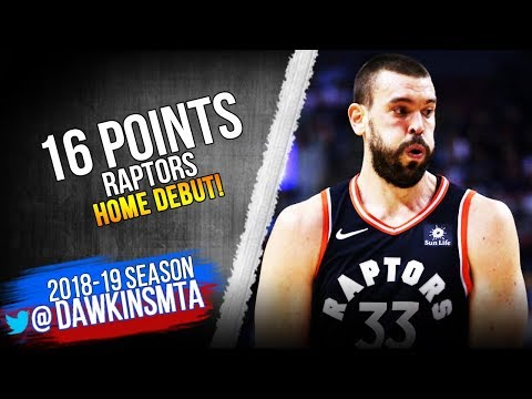Marc Gasol Raptors Home DEBUT 2019.02.11 vs Nets - 16 Pts, 10 in 4th! | FreeDawkins