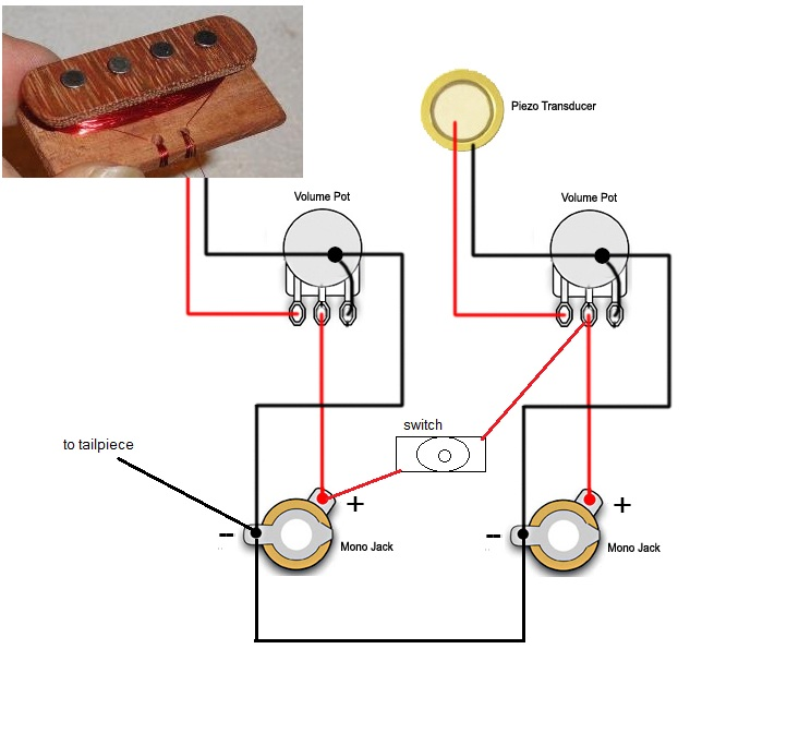 weird wiring schematic question cigar box nationthe idea being that they could still be run through separate jacks, or with the flip of a switch both through one jack