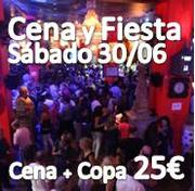 EL sábado 30 de Junio CENA y  FIESTA!:: Cocktail de Bienvenida y CENA con Menu completo + 1 COPA :: 25€