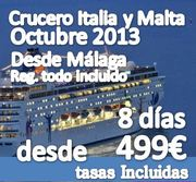80 Singles Apuntados :: Crucero Italia y Malta 8 días :: Reg. Todo Incluido ::  desde 306€+193€ de tasa =499€ :: Ultimas plazas!