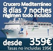 Crucero Para Solteros :: Mediterráneo :: 8 Días 7 noches :: Régimen Todo Incluido:: desde 359€ + 195€ de tasas