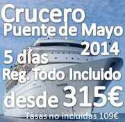 Crucero Mediterráneo PUENTE DE MAYO ::  5 Días 4 Noches :: Régimen Todo Incluido:: desde 315€ + 109€ de tasas