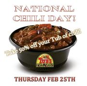 Celebrate National CHILI Day at Tubs Chili