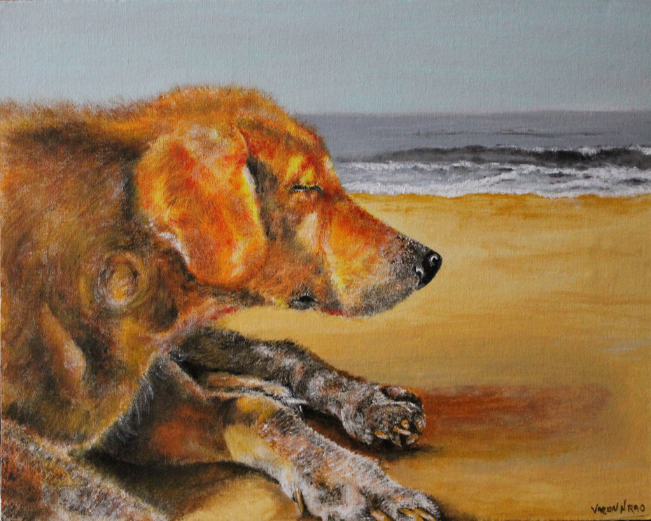 Acrylic Painting - Beach Dog