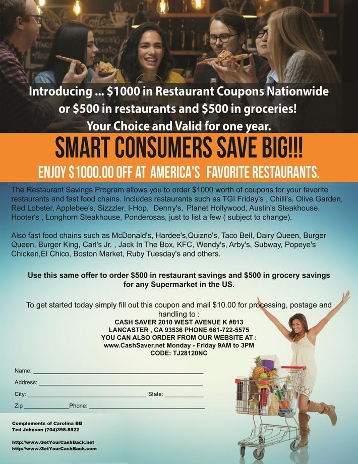 New  Restaurant Saving $1000.00 - 2-8-2019 Complements of Carolina BB