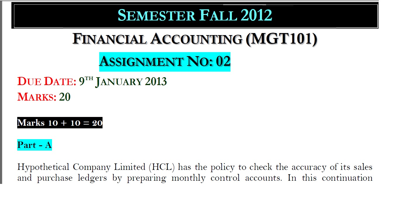 mgt101 financial accounting assignment 2 solution 2013