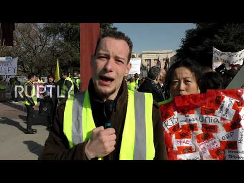 Switzerland: 'Yellow Vests' rally in front of UN office in Geneva