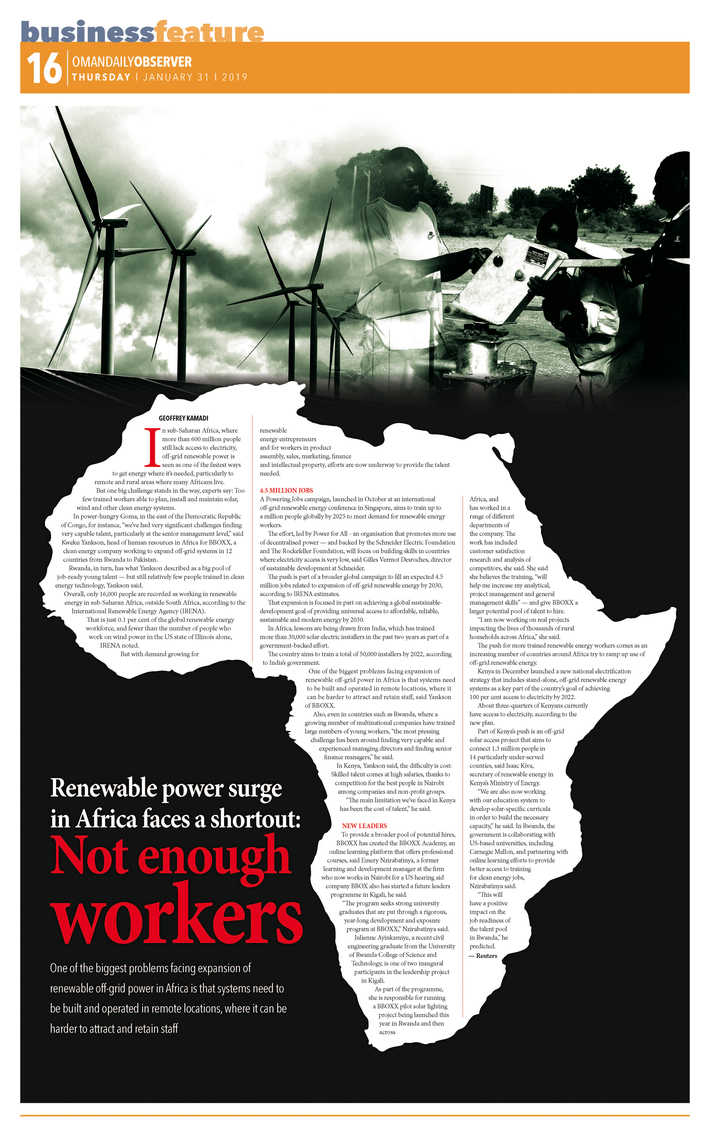 Renewable power surge in Africa faces a shortout: Not enough workers