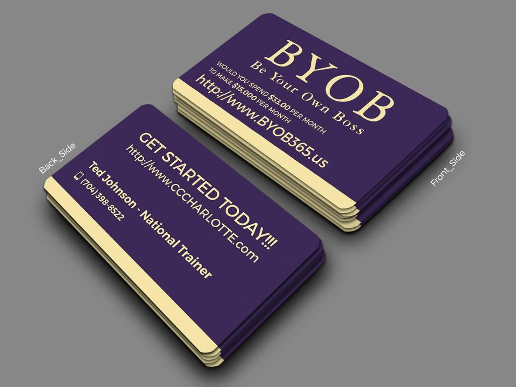 Purple Business Card Front and Back BYOB