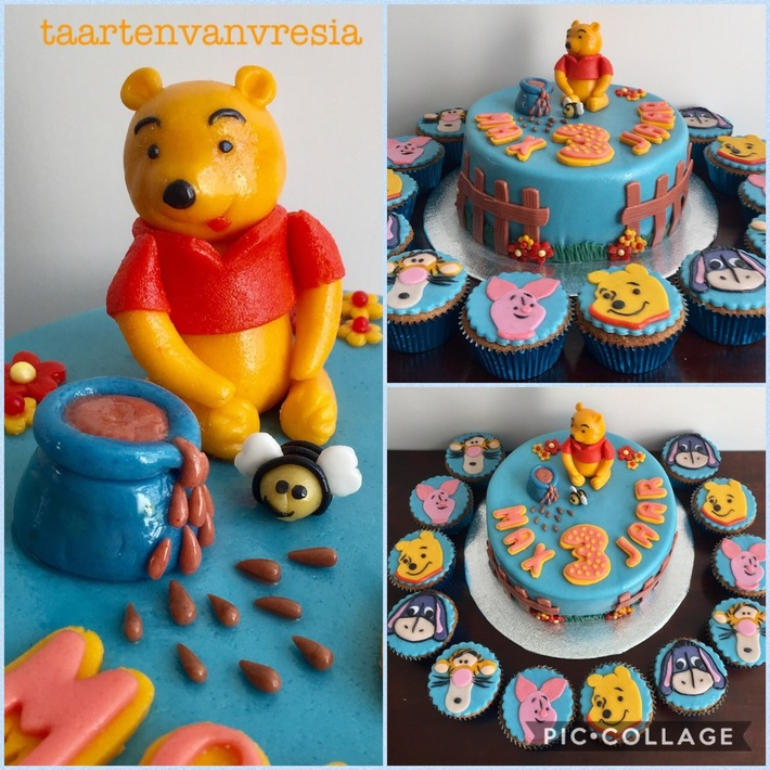 Winnie de Poeh taart en cupcakes