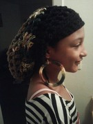 Woodsy Rasta Tam with Hoop Earrings