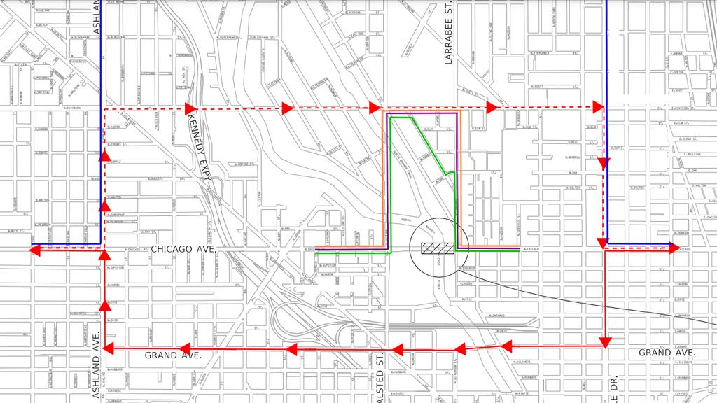 Chicago Ave. Bike Lane Detour Route During Bridge Demolition ... on map of chicago university, map of chicago downtown, map of chicago airport, map of chicago symphony, map of chicago chinatown, map of chicago trolley, map of chicago redline, map of chicago transit, map of chicago metra, map of chicago city center, map of chicago cta, map of chicago union station, map of chicago google, map of chicago bus, map of chicago state street, map of chicago waterfront, map of chicago metro, map of chicago amtrak, map of chicago train,