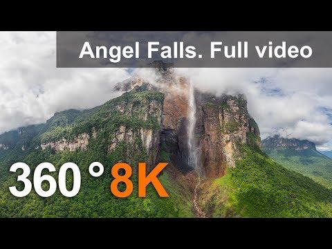 360°, Angel Falls, Venezuela. Aerial 8K video
