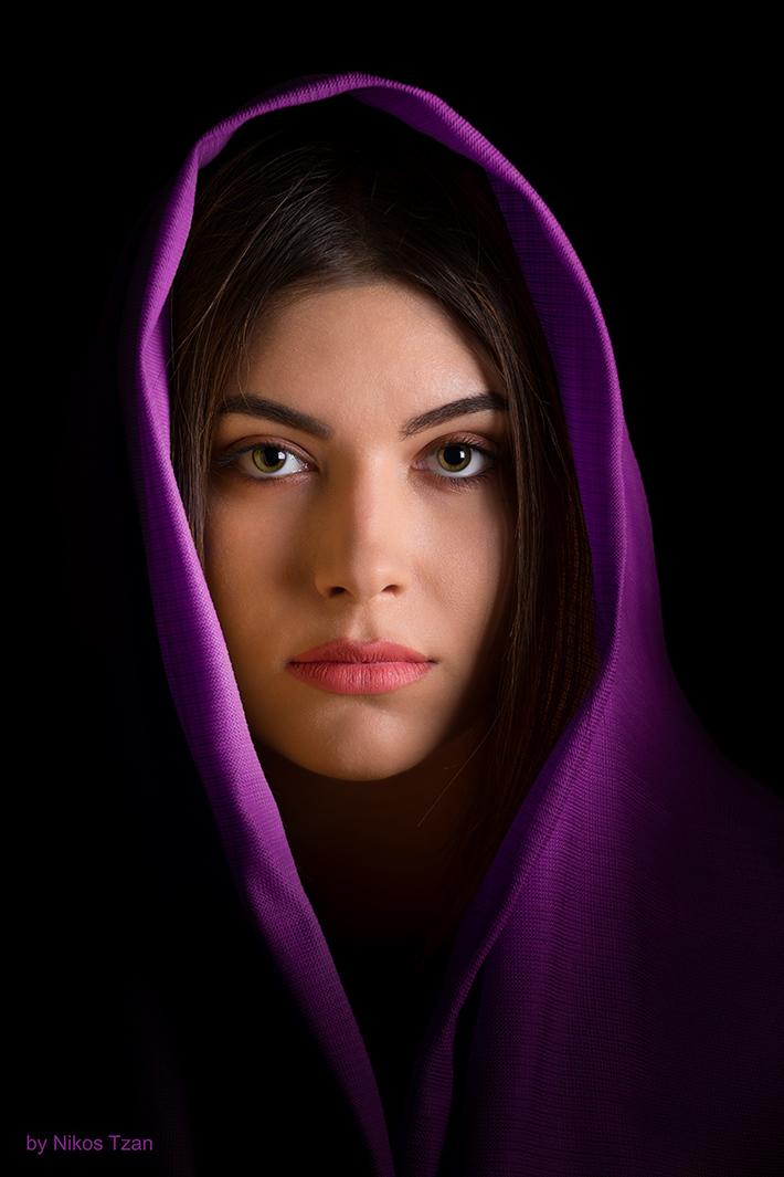 Portrait in purple color