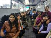 Participants in the Bus during 3 Days Workshop on Wheel (WOW) which was held at BIMTECH, Greater Noida during March 02 - 04, 2019