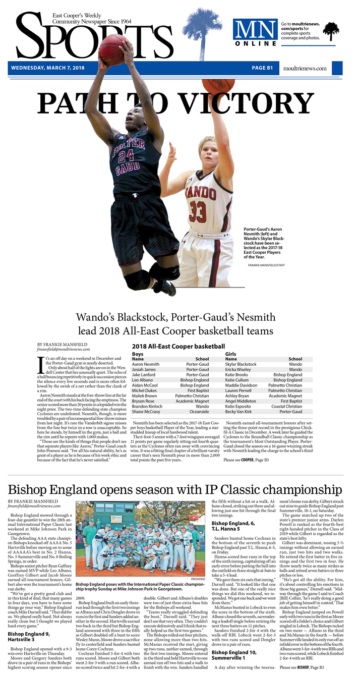 Moultrie News, Sports 03-07-18