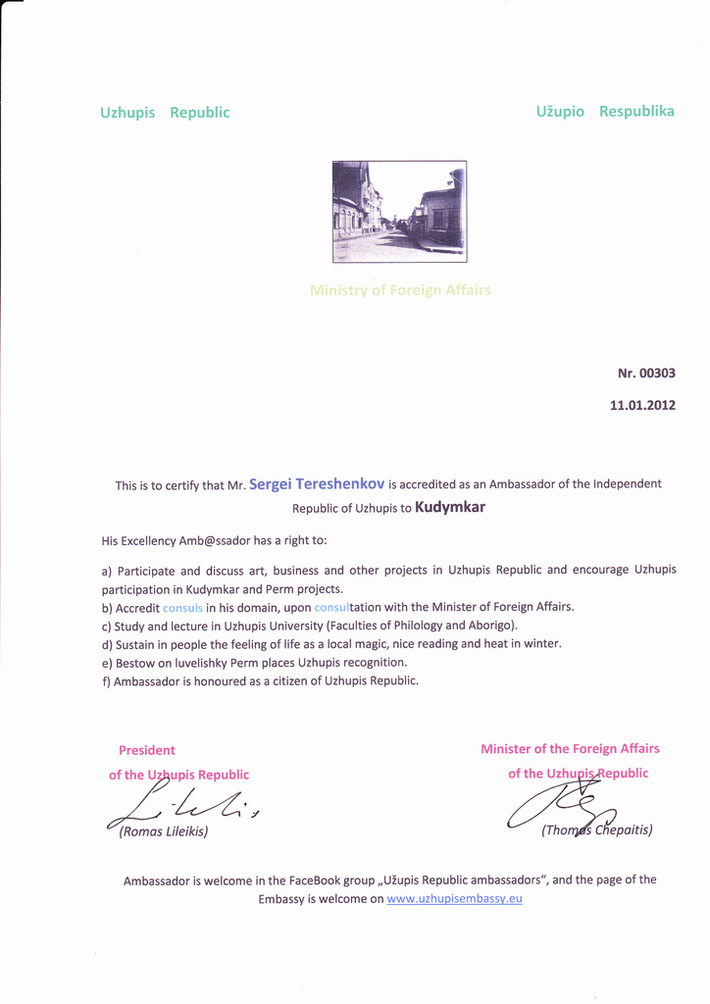 CertificateAmbassadorRepublicUzhupis