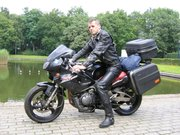 In full leather on motorbike