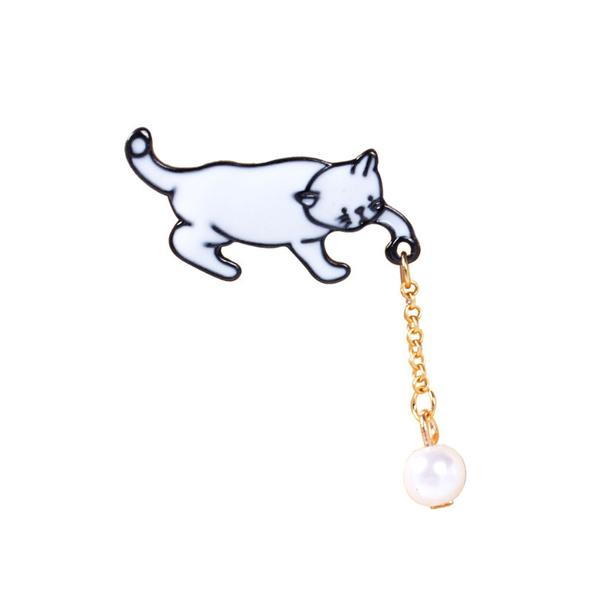Buy Playful Kitten Pearl Brooch From Crazy Cat Shop with Discounted Price