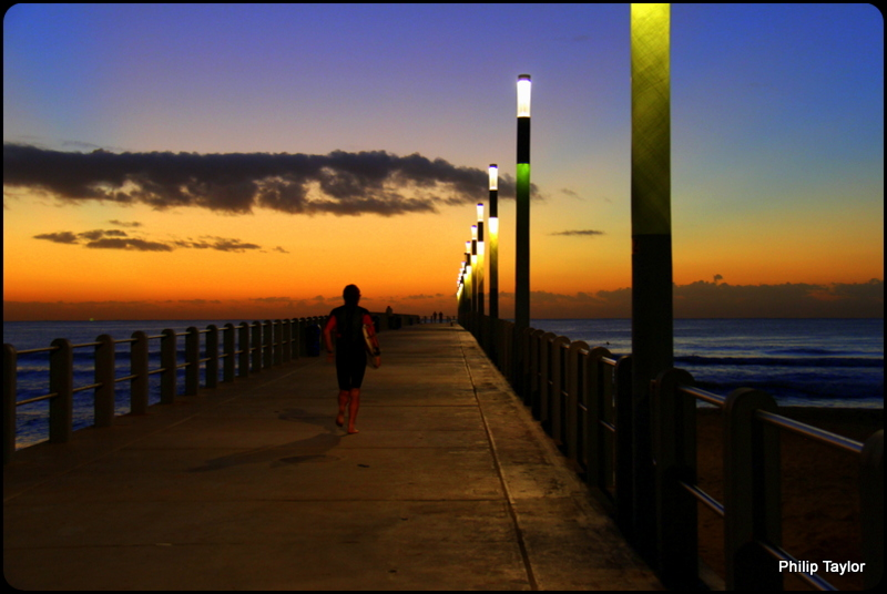EARLY MORNING SURFER..NEW PIER...