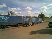 road train at the crossing