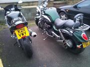 My TT6 next to a Triumph Rocket