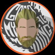 Rhett/White Font/Gray Flame & Background
