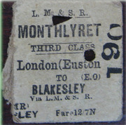 LMS Euston - Blakesley 3rd class ticket- return fare was just 63p!