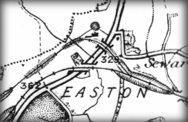 Easton Neston 1899 map showing the Olney Branch crossing the A43