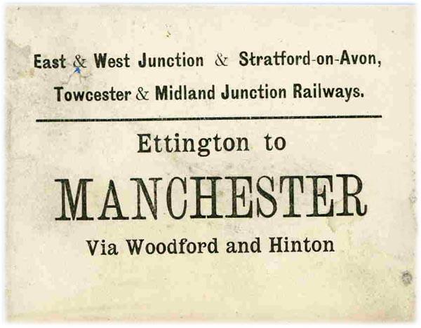 E&WJR & STMJR luggage label - Ettington - Manchester via GCR