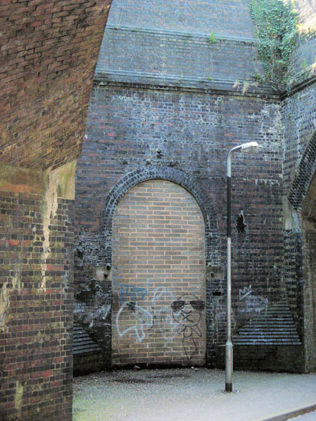 Bricked up entrance to Woodford Halse GCR station stairway