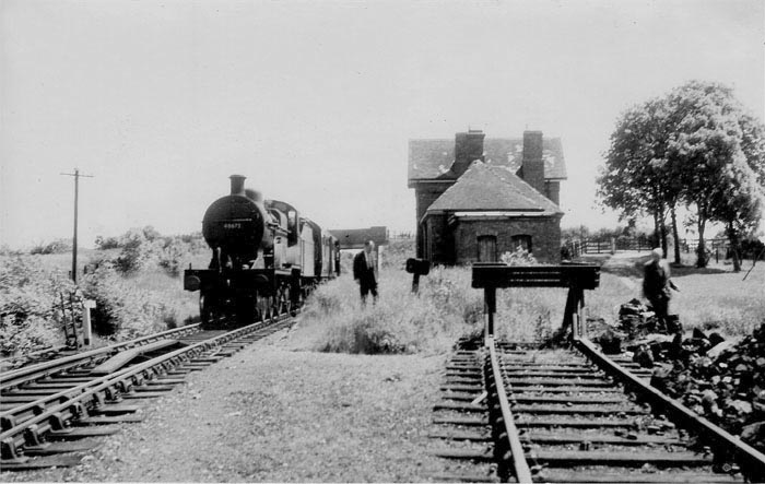 2P 4-4-0 with Inspectors' train at Stoke Bruerne station circa 1950