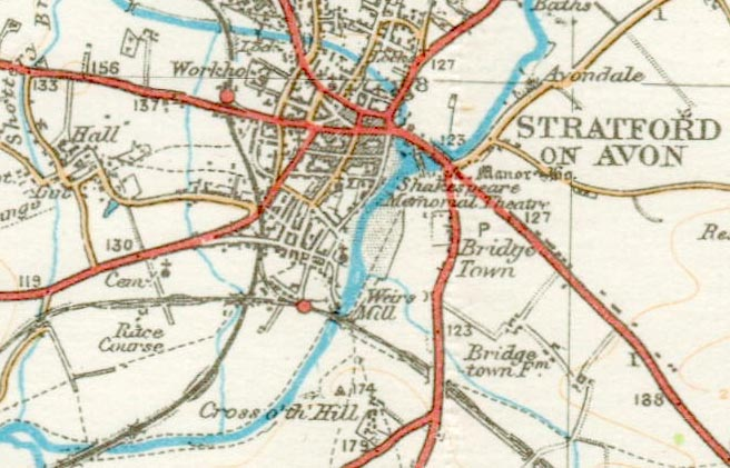 Stratford stations' sites pre-South Loop construction (SMJ's is just west of the River Avon)