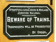 SMJ Beware of Trains sign