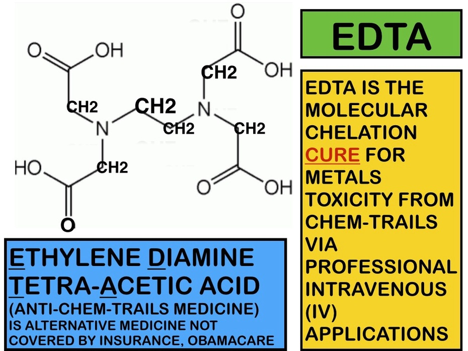 EDTA = MEDICAL CURE FOR METALS-TOXICITY ACQUIRED FROM CONTAMINATION BY CHEMTRAIL EXPOSURE(S)