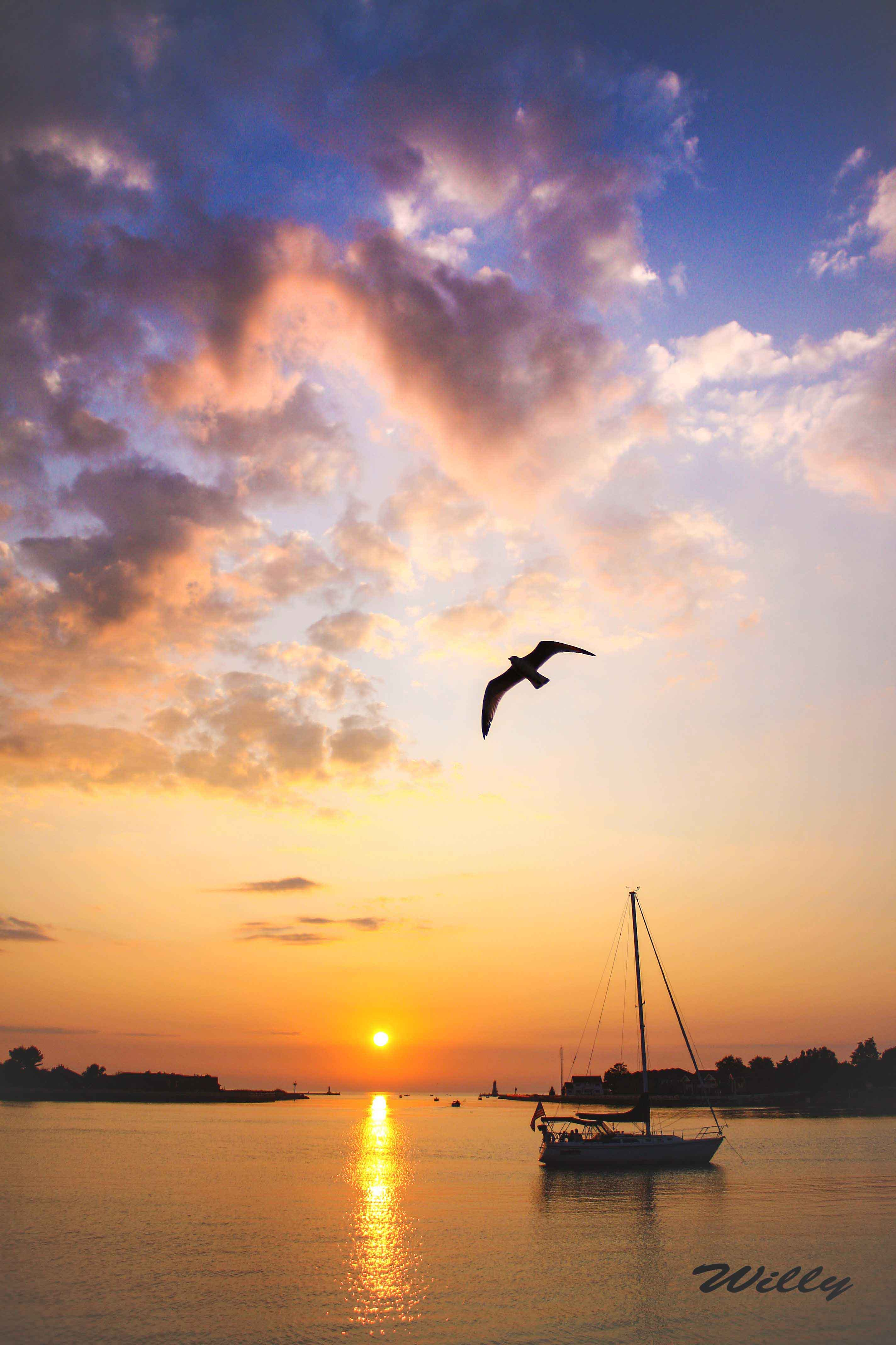 Michigan's Ludington Harbor at sunset