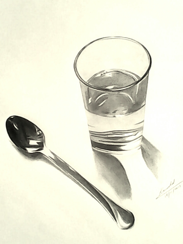 pencil sketch of spoon and glass of water