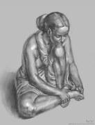 Digital still-life of a little, plaster-cast Karmarkar statue