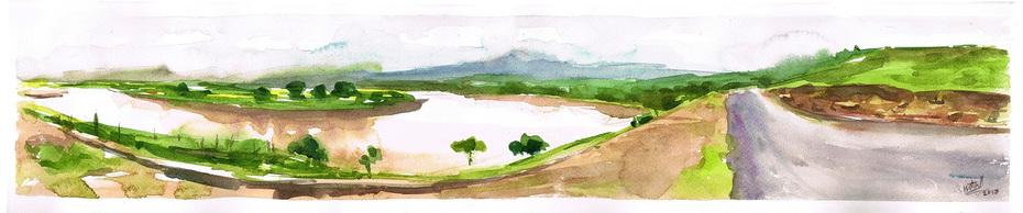 Arnaayi panaroma / quick watercolor wash on paper