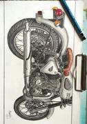 Realastic Royal enfield pencil sketch