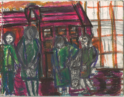Crouchend  villiage  In Oil Crayon.Hands in pockets,behind backs. Having a conflab at shopping trolley!
