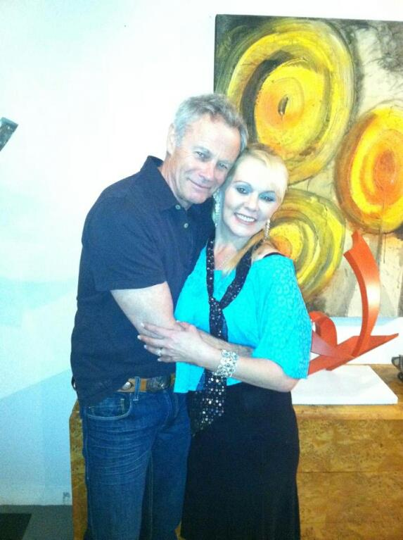 Me with Tristan Rogers at a grand opening at a gallery I sang at in Palm Springs, Ca.
