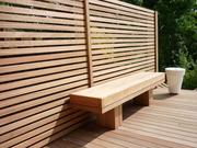 Iroko screen, deck & bench