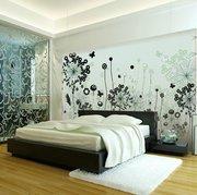 beautiful green floral modern bedroom wall art interior design ideas -25