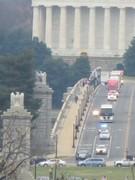 The wreath semi truck motorcade being escorted into Arlington.