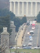 The wreath semi truck motorcade being escorted into Arlington.