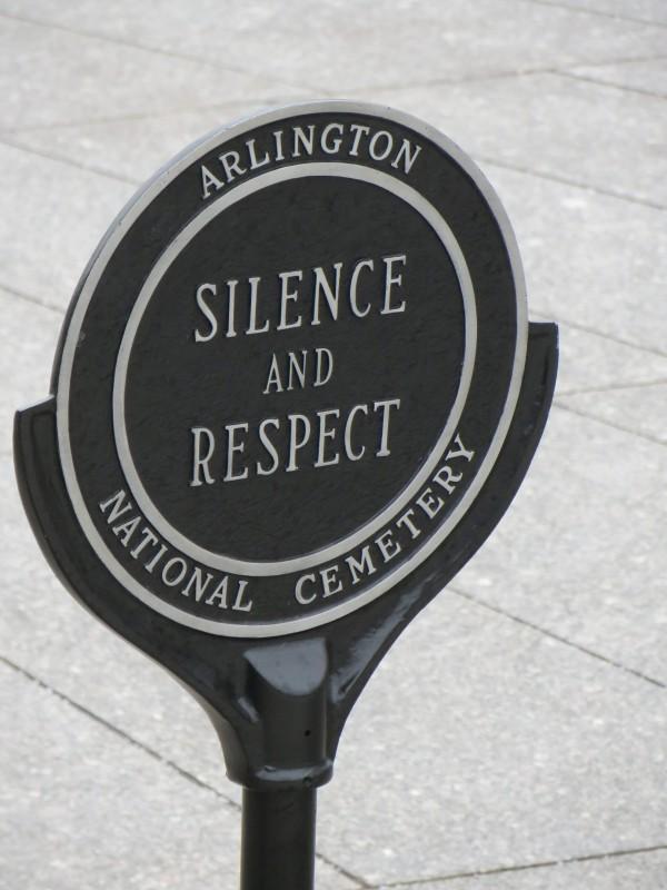Sign at Arlington National Cemetery.