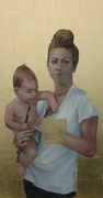 """""""I Know What It Is…"""" Oil on Canvas w Gold Leaf, 24x48"""" 2014"""