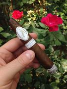 Enjoying a Davidoff Cuvée Selection 2012 in the rose garden.
